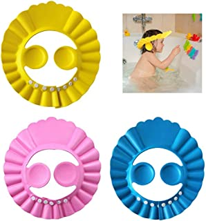 Baby Silicone Shower Cap-Children's Shower Cap is Adjustable-Baby Shampoo Cap Prevents Water from Entering Eyes and Ears-Bath Shampoo Shield Protects Children