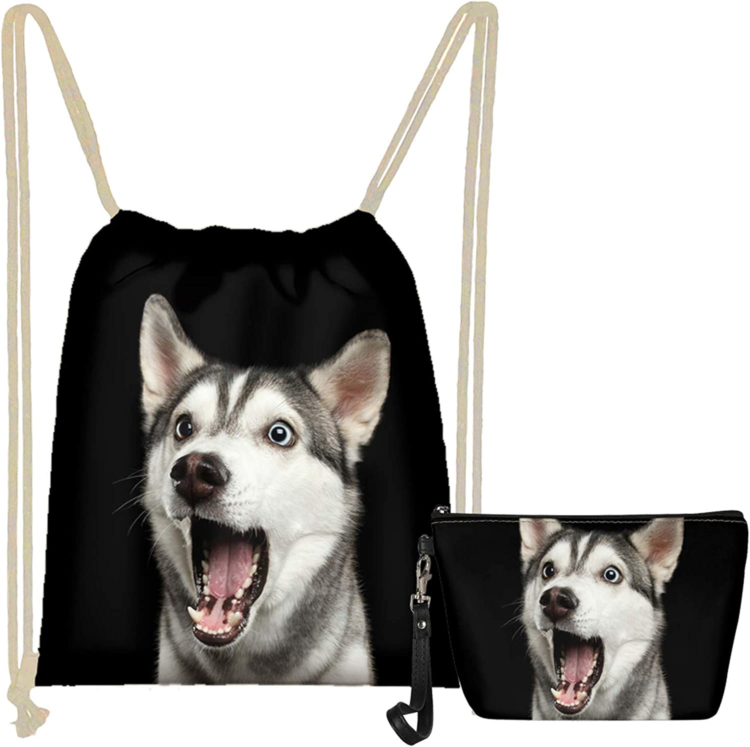 WELLFLYHOM 2 Pcs Set Grey Wolf Drawstring Backpack Tote String Cinch Sack Bags for School,Travel,Gym,Yoga Sports Makeup Bag Pencil Pouch Small for Women Teens Girls Kids
