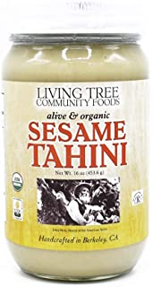 Living Tree Alive & Raw Organic Tahini Paste For Hummus, Sauces and Dressings, Sesame Butter Made Slowly Over Several Days...