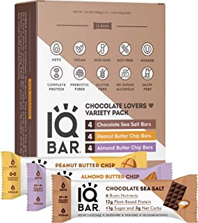 IQBAR Brain + Body Protein Bars, Chocolate Lovers Variety, Keto, Vegan, Paleo Friendly, Low Sugar, Low Net Carb, High Fibe...
