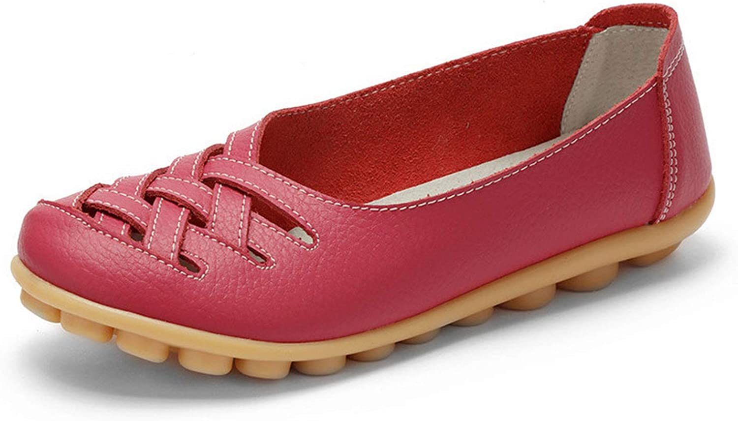 Don't mention the past New Women's Casual shoes Genuine Leather Woman Loafers Slip On Female Flats Ladies Driving shoes,pinkred,9