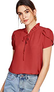 Romwe Women's Casual Short Sleeve Bow Tie Blouse Top Shirts