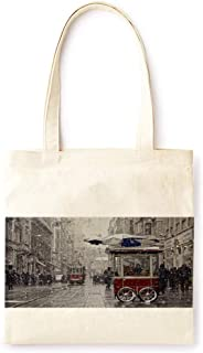 Cotton Canvas Tote Bag Modern Snow City Car Light Luxury Style Christmas Fashion Printed Casual Large Shopping Bag for School Picnic Travel Groceries Books Handbag Design