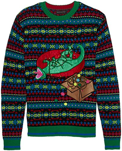 Blizzard Bay Men's Ugly Christmas Sweater Light UP, Dark Green, X-Large
