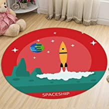 Space Travel Carpet Living Room Flannel Rugs Non-Slip Door Cushion Sofa Coffee Table Chair Cushion Round,3,80cm