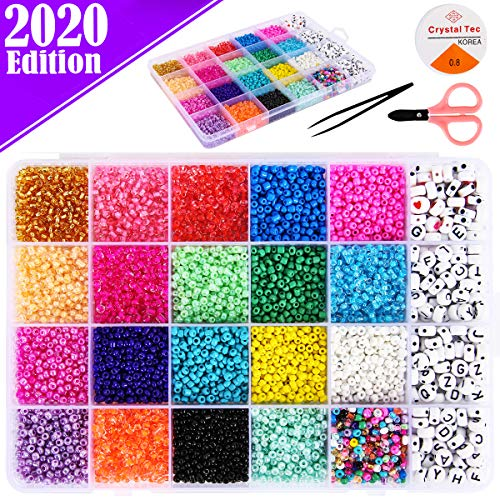 FunzBo Beads Jewelry Making Kit Beads for Bracelets - Craft and Art Glass Pony Seed and Alphabet Letter Bead for DIY Arts and Crafts Gift for Her Women Girlfriend Kids Age 6 7 8 9 10 Years Old