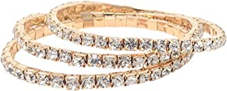 Women's Genuine Austrian Rhinestone Crystal Stretch Bracelet   Gold & Silver Alloy Single Row or Triple Row Design   Gift Sets Available
