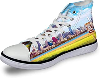 High Top Classic Casual Canvas Sneakers Lace ups Casual Walking Shoes,Historical Story of The Ark with All Animals Saving Nature Grace Illustration - Womens