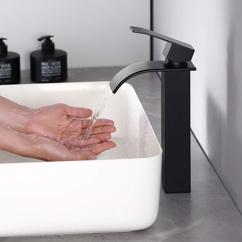 Grifo Lavabo Cascada Alto, CECIPA Ares X103B Grifo Monomando Negro Agua Caliente y Fría Ajustable Latón Moderno Silencioso Grifo de Lavabo para Baño