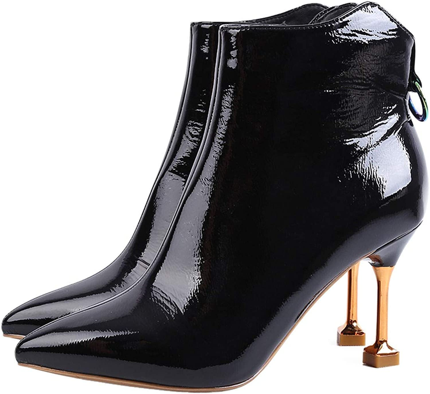 GTVERNH Women's shoes Side Zipper Temperament Boots Fine Heels Shiny Leather High Heels 7Cm Martin Boots Pointed Ankle Boots Women's shoes Fashion