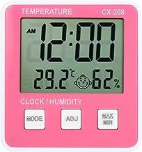 Kecheer Termómetro higrómetro ambiente interior,Termómetro humedad y temperatura interior con reloj,Higrometro termometro digital