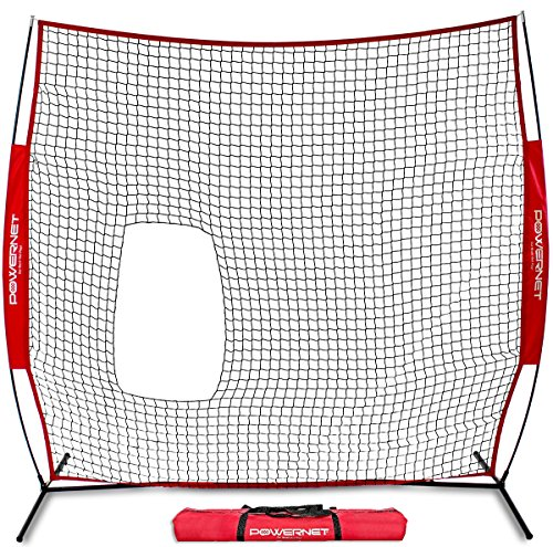 PowerNet 7x7 ft Pitch-Thru Protection Screen for Softball | 49 sqft Barrier | Perfect for Pitching or Batting Practice | Open Area in Net to Allow Ball to Pass Through