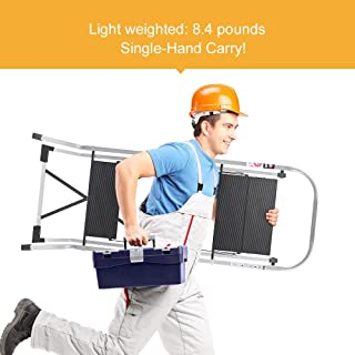 Delxo Lightweight Aluminum 3 Step Ladder Step Stool Single-Hand Carry Ladder with Handgrip Anti-Slip Sturdy and Wide Pedal Multi-Use for Household and Office Portable Step Stool 330lbs
