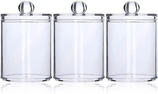 Tbestmax 3 Plastic Cotton Swab Ball Pad Holder Qtip Jar Clear Makeup Organizer Bathroom Containers Individual Dispenser