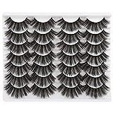 JIMIRE 14 Pairs Fake Eyelashes Full Fluffy False Eyelashes 3D Volume Faux Mink Lashes Packs