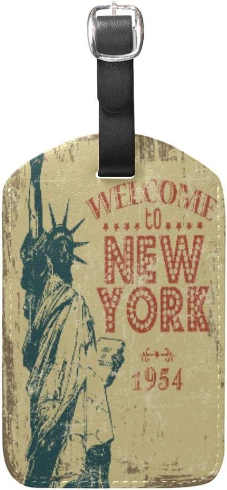 Antigua Estatua De Nueva York Equipaje Etiquetas de Maleta Nombre Etiqueta de Dirección ID de Cuero para Viajes(2piezas)