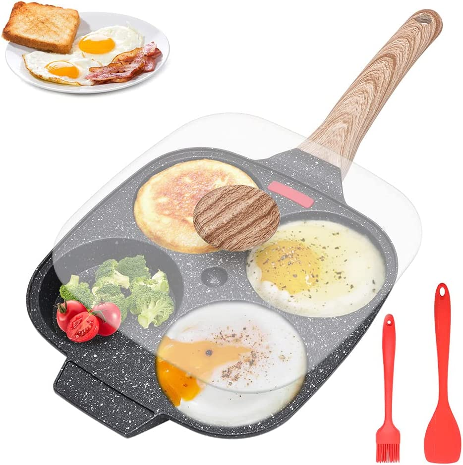 Egg Frying Pan, Pancake Pan With Lid Nonstick 4 Cups Fried Egg Pan Aluminium Alloy Cooker For Breakfast, Suitable For Gas Stove & Induction Cooker