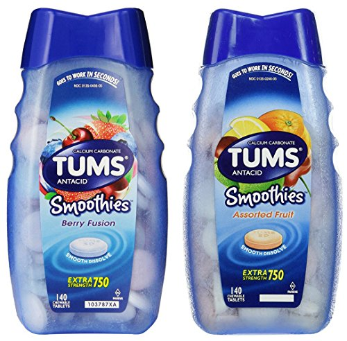 Tums Smoothies Berry Fusion / Assorted Fruit Combo 140 Count (2-pack) | 280 Chewable Tablets in Total