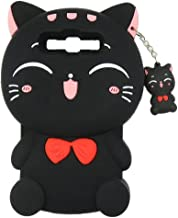 Samsung Galaxy S5 Case, Maoerdo Cute 3D Cartoon Black Plutus Cat Lucky Fortune Cat Kitty with Bow Tie Silicone Rubber Phone Case Cover for Samsung Galaxy S5
