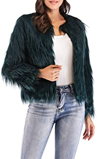 8eb2943f4f2 Anself Women s Shaggy Faux Fur Coat Solid Color Long Sleeve Short Jacket