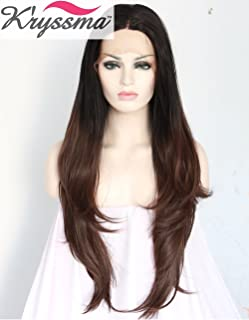 K'ryssma Glueless Ombre Brown Synthetic Wigs Middle Part Straight Lace Front Wig for Women Dark Root