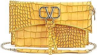 Odette Mustard Textured Envelope Clutch