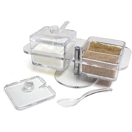 Sale spezie e condimenti Coperchio e Cucchiaio con 4 cucchiai MYA Set di 4 contenitori Trasparenti per spezie