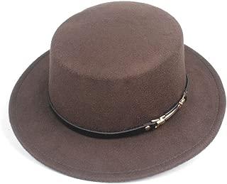 HongJie Hou Fashion Flat Top Hat For Men Women Adult Hat Chuch Hat Wool Fascinator Fedora Hat Size 56-58CM