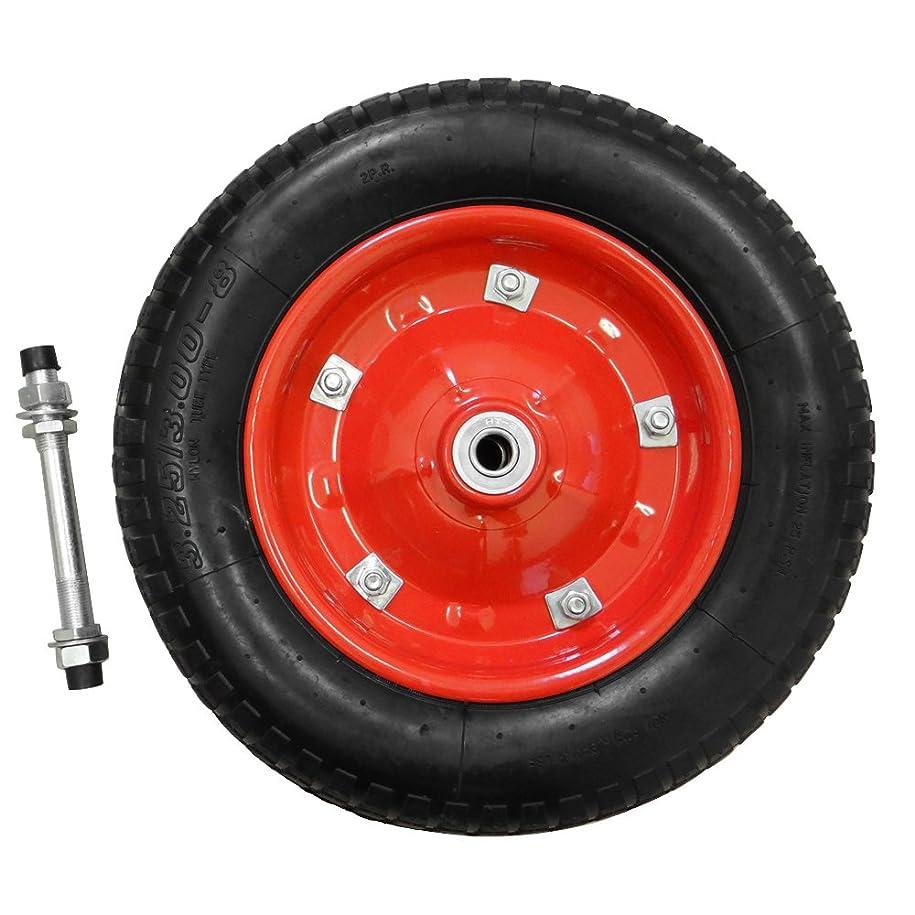 スペクトラム冗談で多様なミナトワークス 一輪車用 空気入りタイヤ (赤/13インチ/替えシャフト付き) MW-13x3.25A