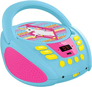 Lexibook CD Player Unicorn, AUX-in Jack, USB Port, AC or Battery-Operated, Blue/Pink, RCD108UNI, Norme