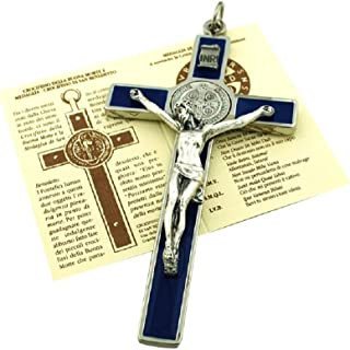 St. Benedict Wall Crucifix with Colored Enamel and Booklet Explaining The St. Benedict Medal (Blue)