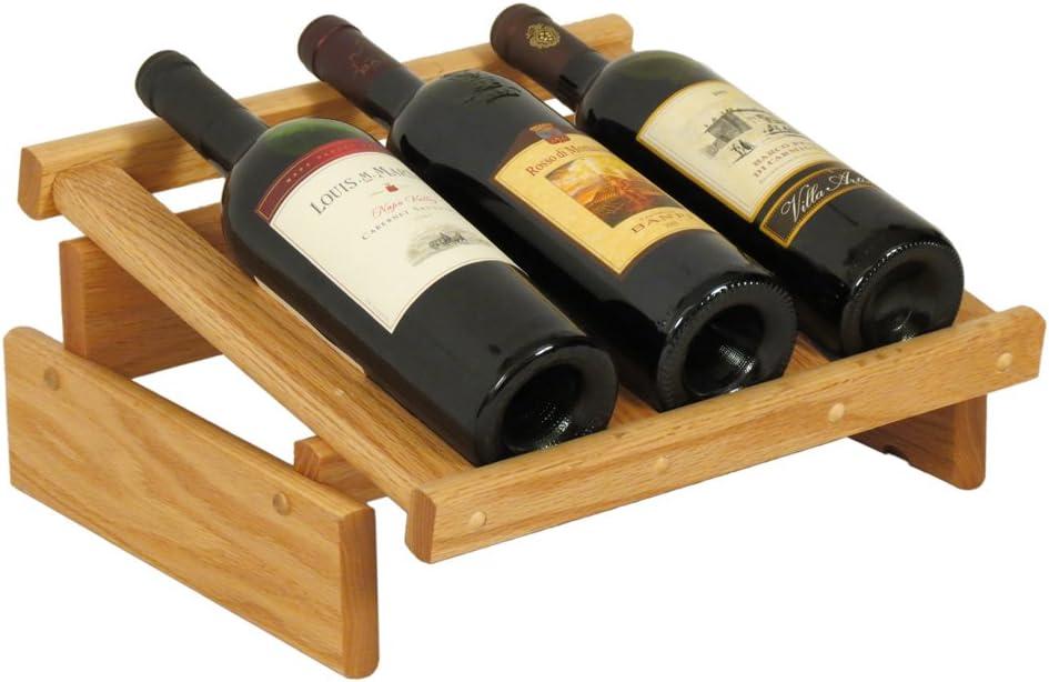 Wooden Special price Mallet 3 Bottle Dakota Rack Oak 5% OFF Display Wine Light
