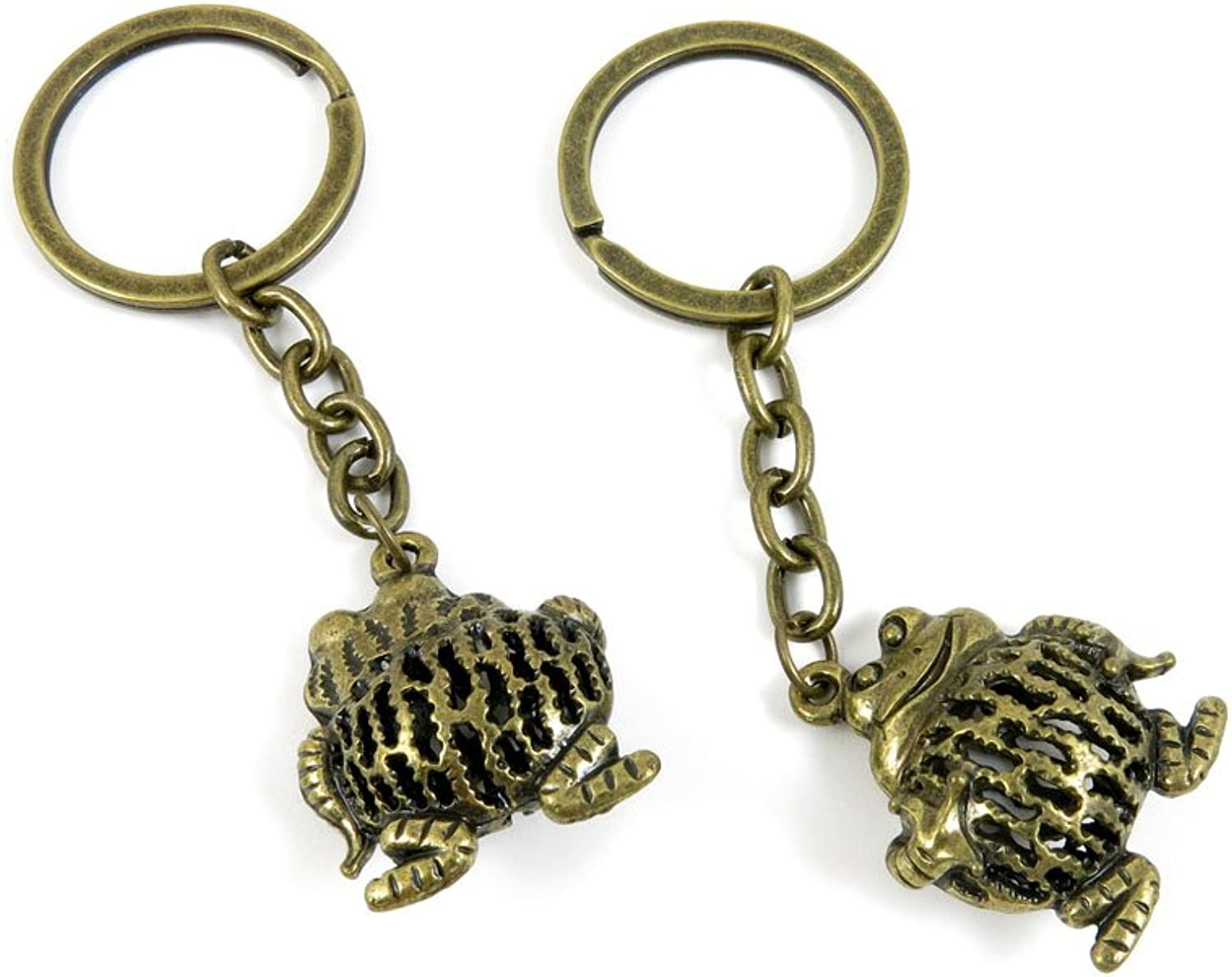 100 PCS Keyrings Keychains Key Ring Chains Tags Jewelry Findings Clasps Buckles Supplies S2GS7 Hollow Frog Prince