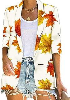 Sanyyanlsy Ladies Fall Maple Leaf Printed Short Open Front Cardigan Tops Trendy Half Sleeves Lapel Coat Jacket for Women
