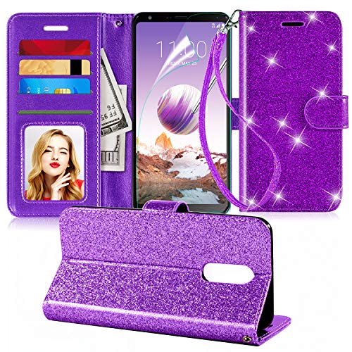 Innge for LG Stylo 4 Case,LG Stylo 4 Plus Case,LG Q Stylus Case W[Wrist Strap][Screen Protector][Kickstand][Credit Card Slots],PU Leather Bling Glitter Flip Wallet Case Cover for Girls Women,Purple