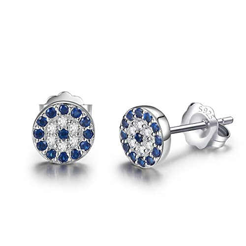 Black Cubic Zirconia Blue Evil Eye Stud Earring Sterling Silver