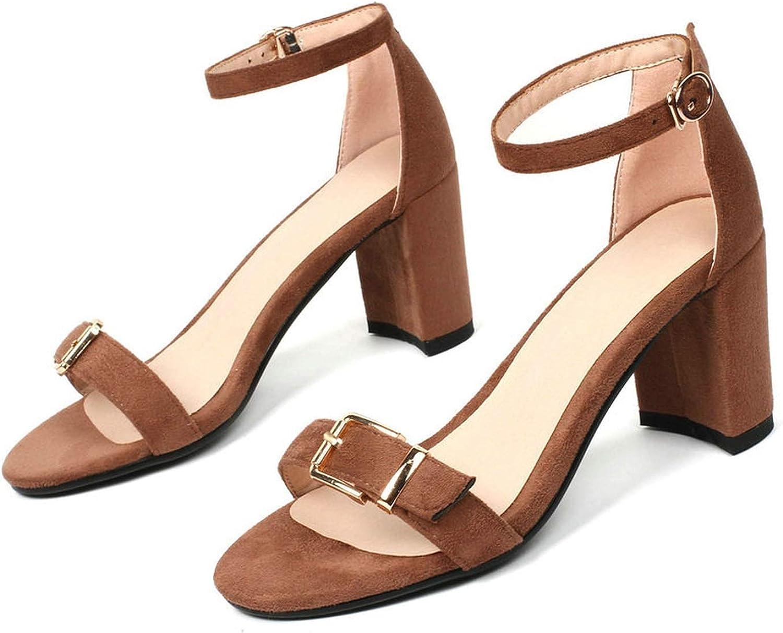 Charismatic-Vibrators Women Sandals Flock Square High Heel Round Toe Fashion Women shoes Platform Buckle Black Sandals