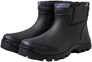 jessie Rain Boots for Men PVC Waterproof Rubber Boots Anti-Slip Rubber Boots Slip on Shoes Short Ankle Boots