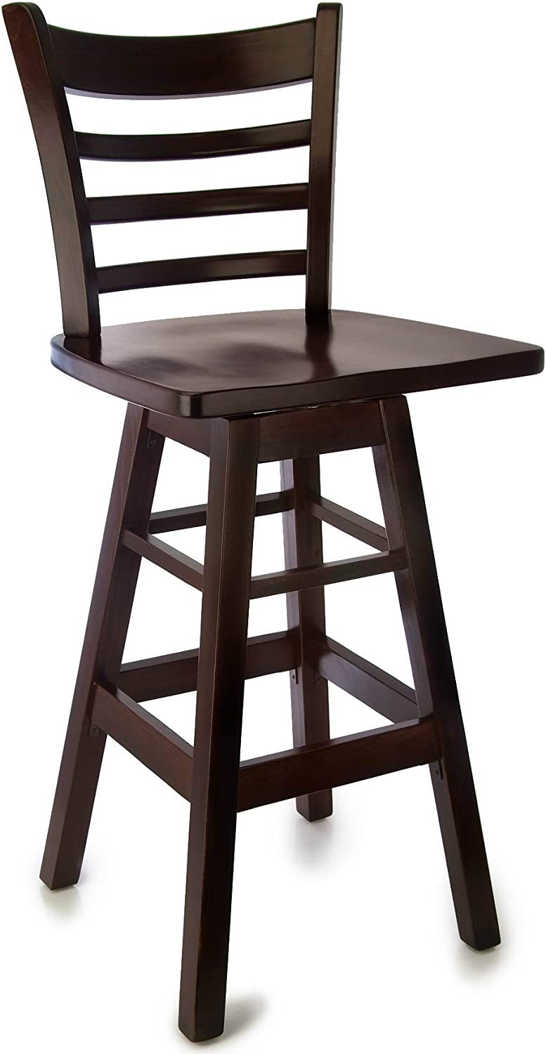 Beechwood Mountain BSD-5BSWW-DM Solid Beech Wood Swivel Bar Stool in Dark Mahogany with wood seat for Kitchen and dining
