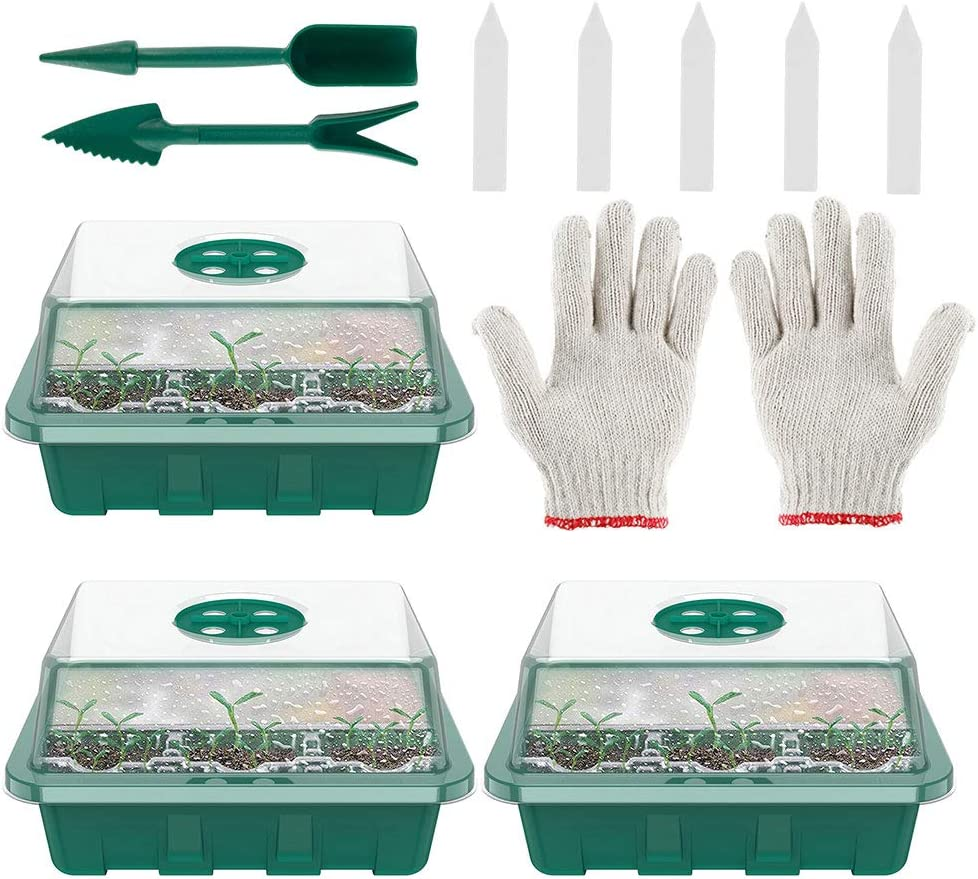 3 pcs 3 Pcs Seedling Trays,Seed Sprouting Trays with Lid Indoor Grow Plant Pots Each 12 Cells Seedling Trays for Greenhouse Plant for Seeding Germination Plant Growing