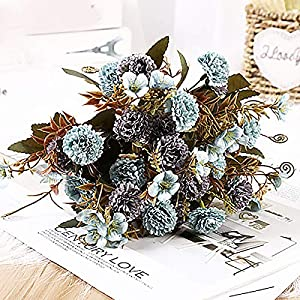 2PC Fake Flowers Bouquets Vintage Artificial Silk Flowers for Home Table Fall Decor Bridal Bouquet Lilac Dried Flowers Fake Flowers for Home Decor, Wedding,Garden,Patio Decoration