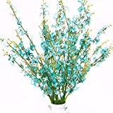 """Misswarm 10 Pieces 37.7"""" Long of Orchid Dancing Lady Butterfly Artificial Flower Artificial Flowers Fake Flower for Wedding Home Office Party Hotel Restaurant Patio or Yard Decoration(Blue)"""