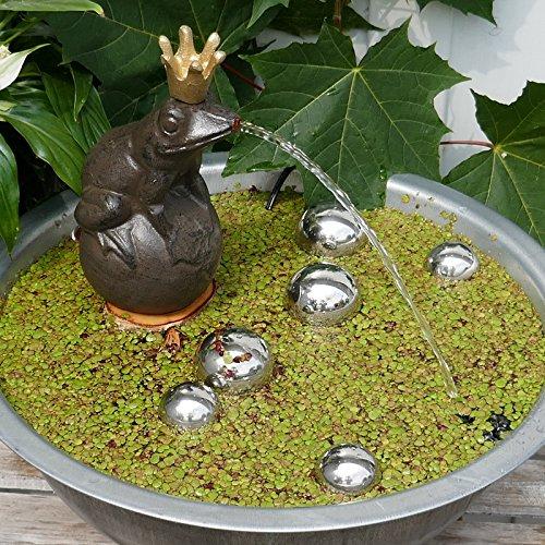 Gartenzaubereien Miniteich Komplett mit Wasserspeier Frosch auf Kugel