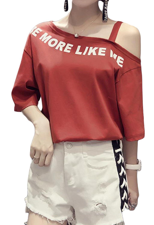 BSCOOLレディース tシャツ 半袖 オフショルダー ファッション トップス 半袖tシャツ 無地 カジュアル トップス 夏物 おしゃれ 白tシャツ