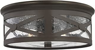 Sea Gull Lighting 7821402-71 Lakeview Two-Light Outdoor Flush Mount Ceiling Light with Clear Seeded Glass Shade, Antique Bronze Finish