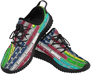 Dark Brick Wall Us Flag and Rainbow Grus Mens Sneakers Breathable Woven Running Shoes Mens Shoes