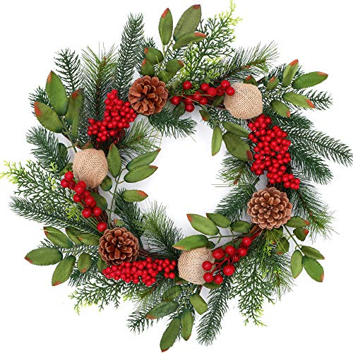 Tiny Land 18 Inch Christmas Wreath for Window & Advent- Handcraft Boxwood...