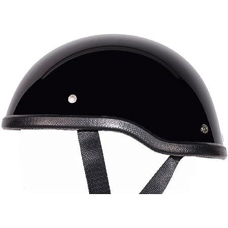 "Low Profile Novelty Harley Chopper Motorcycle Half Helmet Skull Cap Shiny Black (Small 21 1/2"" - 22"")"