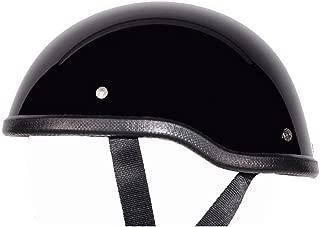 Low Profile Novelty Harley Chopper Motorcycle Half Helmet Skull Cap Shiny Black (Large 23