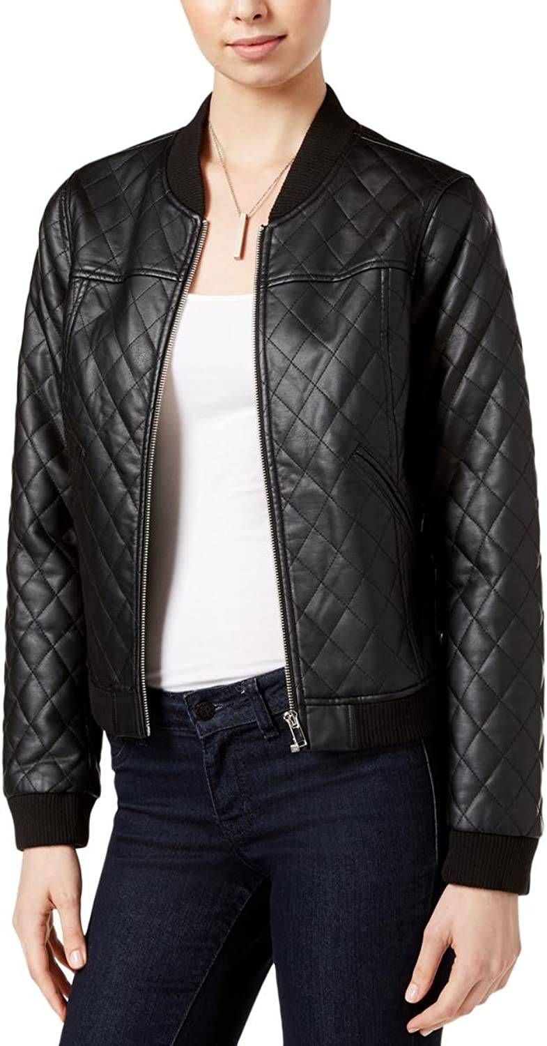 Bar III Womens Quilted Faux Leather Bomber Jacket Black S